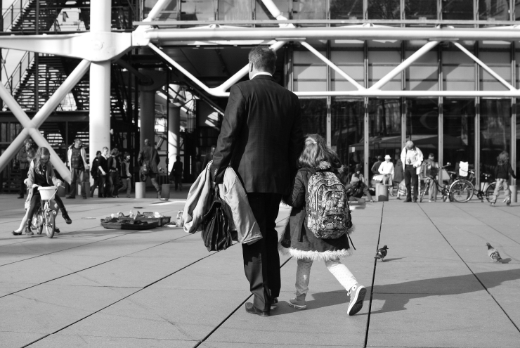 Father and doughter crossing Pompidou