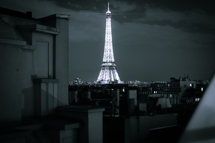 Night view from a hotel room in Paris