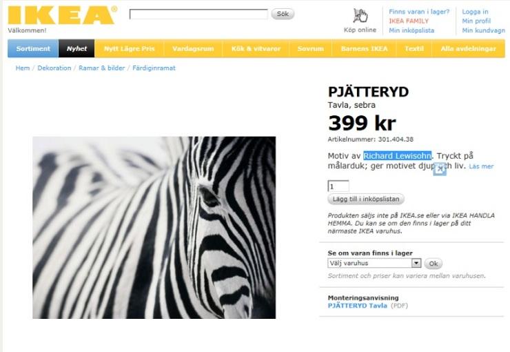 Pjätteryd Sebra Ikea