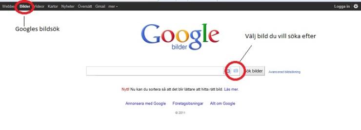 Bildsöksfunktion Google