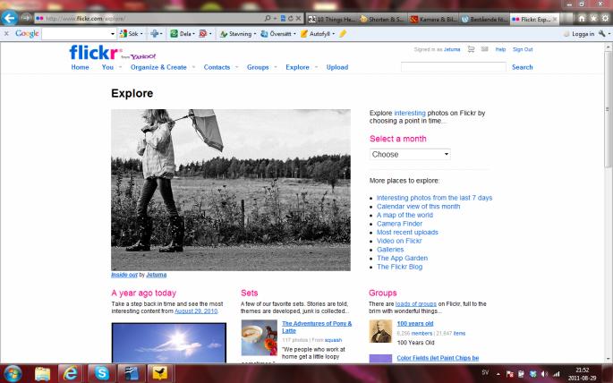 Explore frontpage