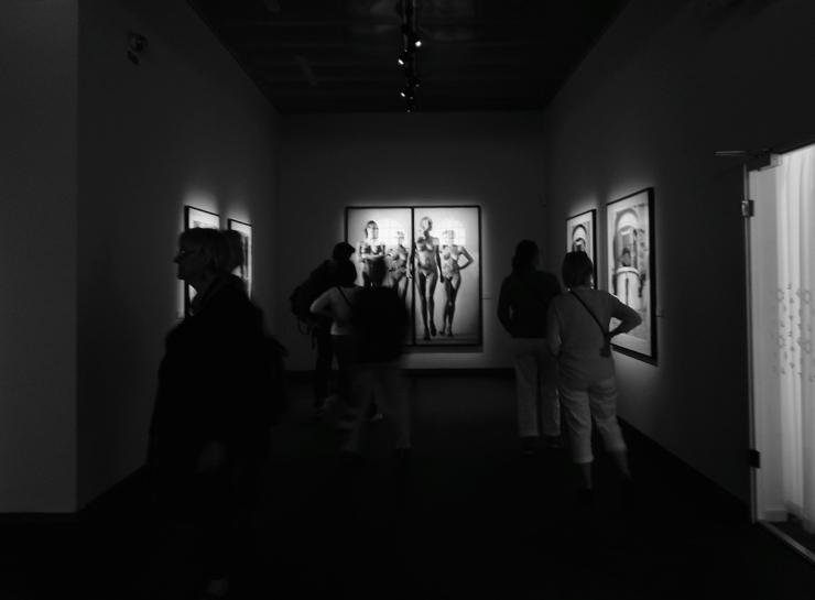 Besökare som tittar på utställningen med Helmut Newton