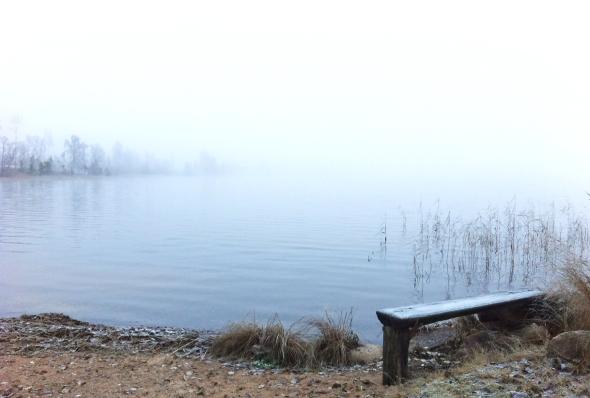En bänk vid sjön