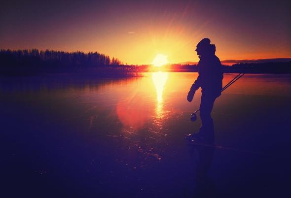 Skriskoåkare i solnedgång