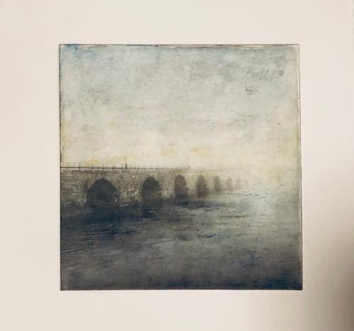 Stenbron i timmar - Fotogravyr med fotopolymer + akvarell